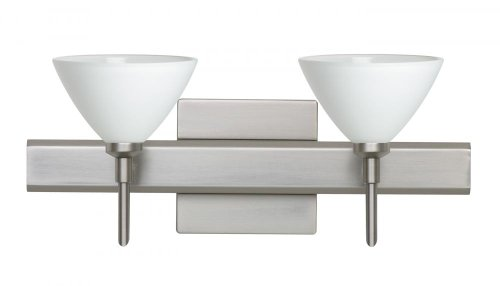 Besa Lighting 2SW-174307-SN-SQ 2X40W G9 Domi Wall Sconce with Canopy White Glass, Satin Nickel Finish