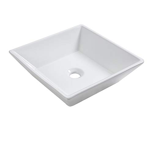 Fantastic Deal! Vessel Sink - Sarlai 16'' Modern Square Above Counter White Porcelain Ceramic Bathro...