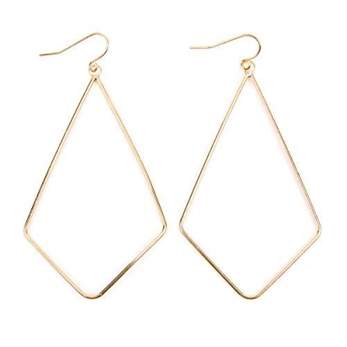 RIAH FASHION Lightweight Geometric Cut-Out Hook Drop Earrings - Simple Metallic Open Hoop Dangles Pear, Teardrop, Oval Octagon (Wire Kite - Gold)