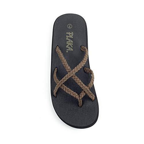 (Plaka Flip Flops for Women Taupe Size 9 Splash)