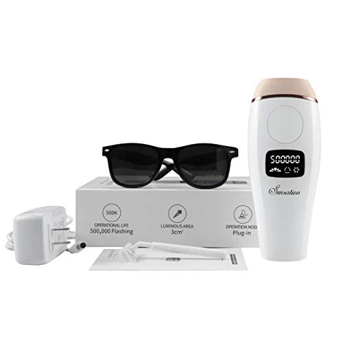 IPL Hair Removal System For Women and Men - Permanent Laser Hair Removal - Made in the USA - 500,000 Flashes - Full Body, Face, Legs, Bikini & Underarm Professional Premium Hair Remover by Sensation