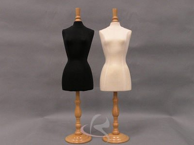 Dress Display - Roxy Display Mini Female Jewelry Mannequin Body Form – Mini Dress Form With Maple Wooden Base and Neck Top (White)