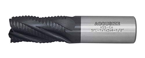 Accusize Industrial Tools 1 Dia, M42 8% Cobalt Tialn Roughing End Mill, Coarse Tooth, 1 Shk Dia, 2 Flt Length, 4-1/2 Oal, 5 Flute, 1102-0001
