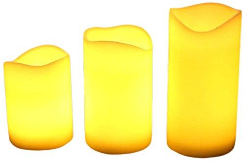 Akari Set of 3 Battery Operated Real Ivory Wax Wave Edge ...