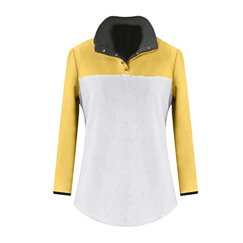 Color Block CICIYONER Stand Fleece Casual Sweatshirt Calda Womens Giallo Collar Pocket Vendita Pullover Soft KKqZIg