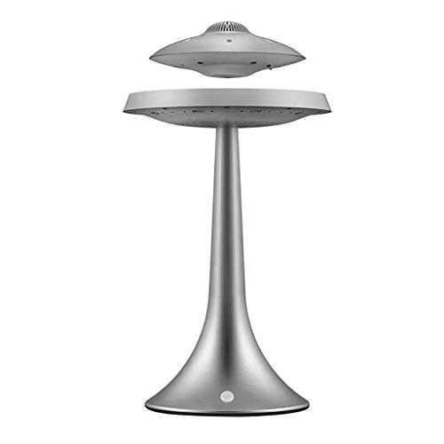 Daopwlkom Anti-Gravity Flying Saucer Magnetic Floating HQ Bluetooth Speaker, Wireless Charging Changeable Modern Night Light (Silver)