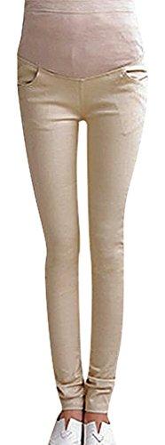 US&R Women's Warm Winter Candy Color Maternity Secret Fit Belly Close Fit Pants, Khaki 4 ,Manufacturer(M)