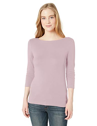 Amazon Essentials Women's Slim-Fit 3/4 Sleeve Solid Boatneck T-Shirt, Light Pink, L