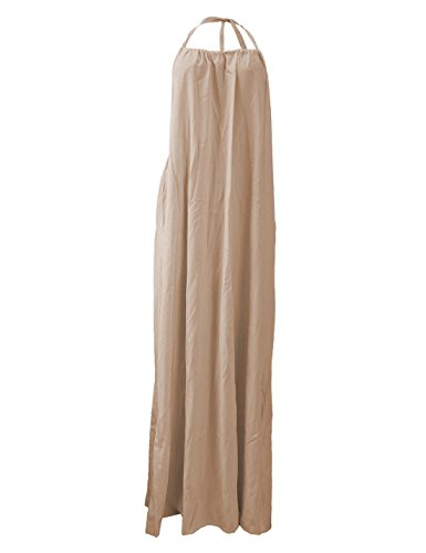 Flovey Deep V Loose Dress Neck Belt chiffon Casual Khaki Women Maxi Dresses Condole Denim Pockets 0w1nr80