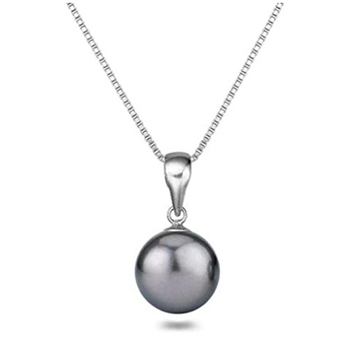 Tahitian Cultured Pearl Pendant Sterling Silver 18 Inch Chain 11.5mm Pendant Necklace for Women Silver Tahitian Cultured Pearl
