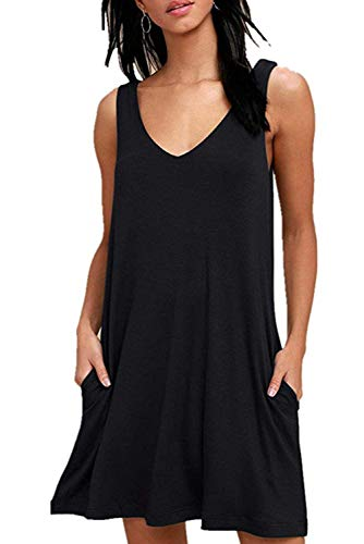 Fantastic Zone Women Summer Casual T Shirt Dresses Loose Plain Tank Swing Dress with Pockets Black