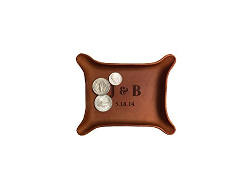 3rd Anniversary Gift / Personalized Leather Tray with Initials & Wedding Year (Small Tray (3