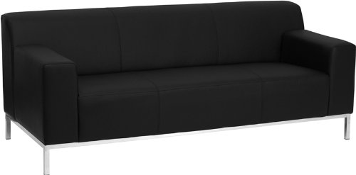 8009 Series (Flash Furniture ZB-DEFINITY-8009-SOFA-BK-GG Hercules Definity Series Contemporary Black Leather Sofa with Stainless Steel)