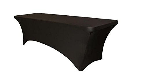 6 ft Rectangular Stretch Tablecloth (Black)-Spandex Tight Fit Table Cover-DJ, Tradeshows, Vendors
