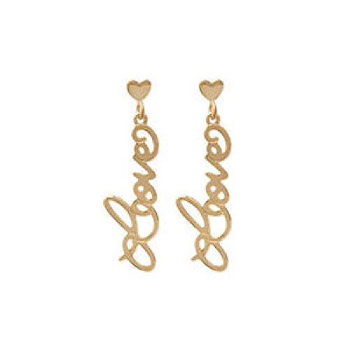 So Chic Jewels - 18k Gold Plated Love Words Drop Earrings (Earrings Words)