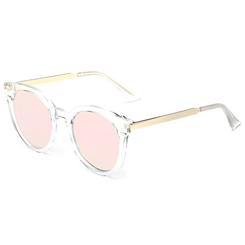 - VANKER Summer Fashion Classic Oval Sunglasses Colorful Coating Resin Lens PC Frame Eyewear Glasses(pink)