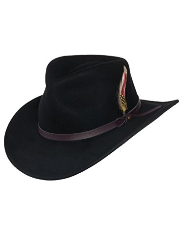 Men's Outback Wool Cowboy Hat Montana Black Crushable Western Felt by Silver Canyon, Black, X-Large