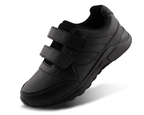 Jabasic Kids Black/White Hook and Loop School Uniform Sneaker(11,Black) ()