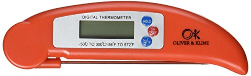 Best Digital Meat Thermometer - Instant Read Technology - Perfect for Food, Grill, BBQ & Liquid - Fast Accurate Readings - Batteries Included - Candy, Roasts, Fish, Sauce & More - From Oliver & Kline (Meat Thermometer Accurate)