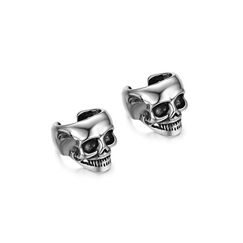 Clip on earrings,Flongo Women's Men Stainless Steel Skull Ear Cuff, Ear Clip Non-Piercing Clip On Cartilage Earrings for Women Girl Wedding Engagement -