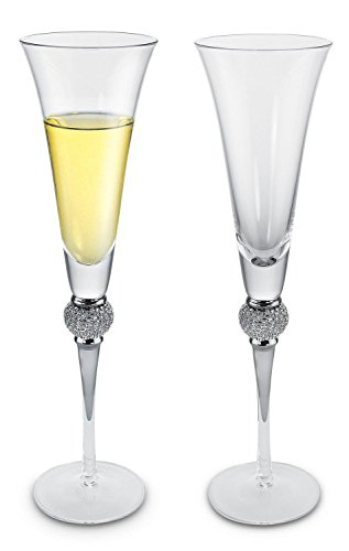 - KOVOT Elegant Champagne Toasting Flutes With Silver Accents - Set of 2-6-Ounces Each