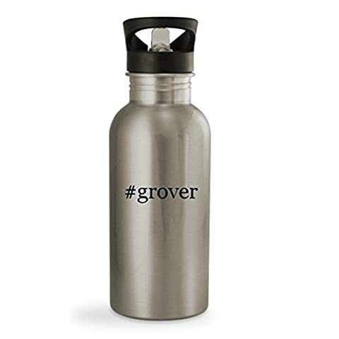 #grover - 20oz Hashtag Sturdy Stainless Steel Water Bottle, Silver (Tag Junior Books Thomas)