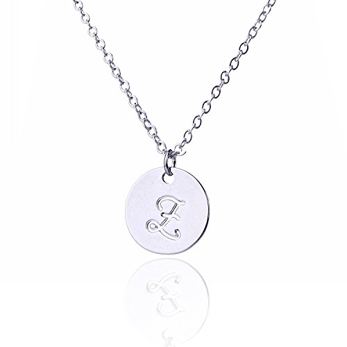 AOLO Disc Necklace Simple Script Coin Necklace - Coin Initial Necklace