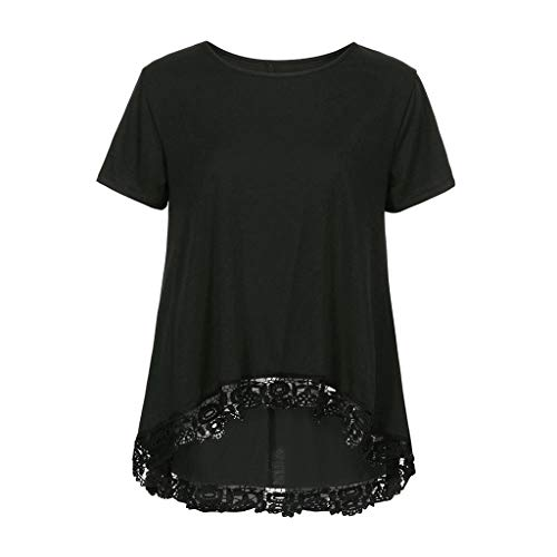 DaySeventh Summer Deals 2019 ! Women Casual O-Neck Short Sleeve Loose Lace Patchwork Tops Tunic Blouse