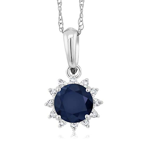 Gem Stone King 18K White Gold Blue Sapphire and Diamond Pendant Necklace With 18 Inch Chain, 0.60 Ctw Round