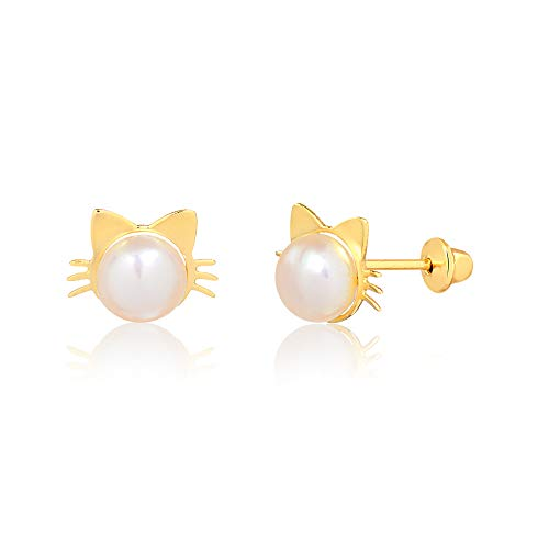 (Carol Jewelry 14k Hypoallergenic Yellow Gold Cat Kitty Freshwater Pink Pearl Push Backs Stud Earrings for Girls, Children and Infants (6 mm) )