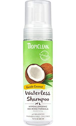 TropiClean Waterless Hypoallergenic Shampoo for Pets, 7.4oz, Made in USA