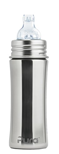 Pura Stainless Steel Toddler Bottle With Silicone Xl Sipper Spout & Sleeve Natural (Plastic Free, Nontoxic Certified, BPA Free)