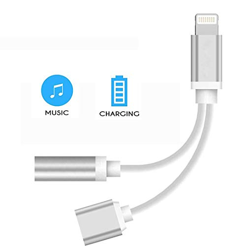 Price comparison product image Headphone for iPhone Adapter 3.5mm Jack Dongle Earphone Connector 2 in 1 Accessories Splitter Cable Charge & Audio for iPhone X / XS / XS MAX / XR 8 / 8Plus 7 / 7 Plus for iOS 10.3 or Above-Silver
