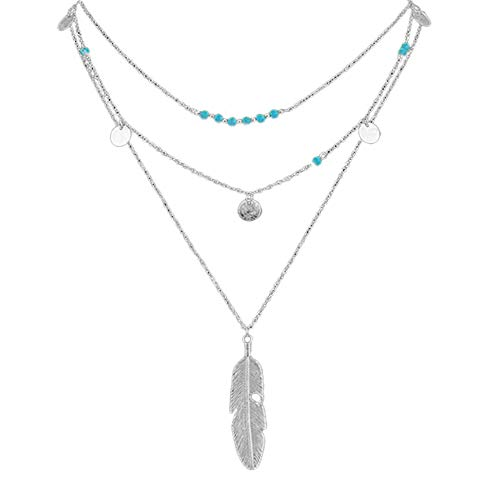 Nmch Hot Fashion Multilayer Coin Tassels Lariat Bar Necklaces Beaded Choker Feather Pendants Necklaces for WomenSilver - Hot Diamonds Sterling Silver Lariat