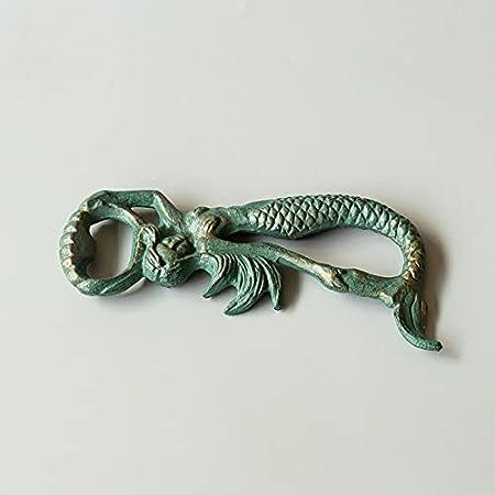 PPuujia Sacacorchos manual de hierro fundido con diseño de sirena, color dorado y verde