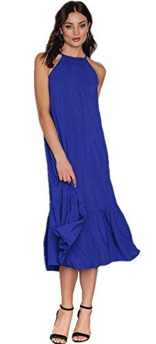 Sin Mangas Tirantes Finos Plisado Cami Camisola Camiseta de Tirantes Camisola Tank Vest Midi a Media Pierna de Vuelo Trapecioe Maternidad Dress Vestido Azul