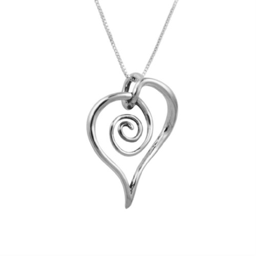 Sterling Silver Spiral Pendant - Loving Family - Sterling Silver Freeform Spiral Heart Pendant Necklace - 18