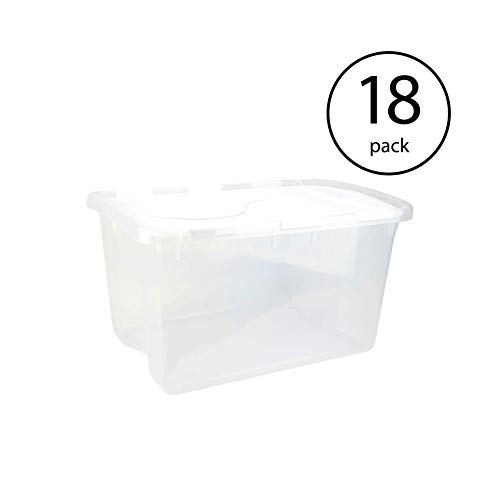 e 48 Quart Clear Base Hinged Lid Storage Box Tote Container (18 Pack) ()
