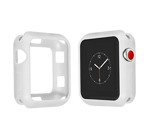 Apple Watch Series 3 Case Fashion Silicone Shock-Proof and Shatter-Resistant Protector 2017 (White, 38 mm)