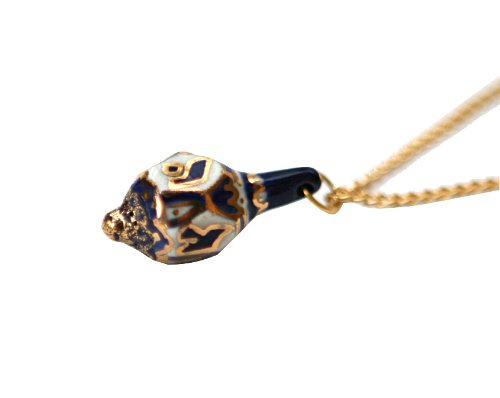 Jewish Jewelry, Necklace Gold Filled and Porcelain. Dreidel Shaped. White, Gold Navy Blue Colored. Chain Great Gift For: Bat Mitzvah Bat Mitzva Shabbat Passover Wedding Mother's Day Birthday Valentine Anniversary Bridesmaid Graduation and Other Jewish Occasions Chain Porcelain Necklace