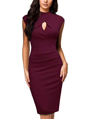Miusol Women's Business Slim Style Ruffle Work Pencil Dress,X-Large,B-Wine