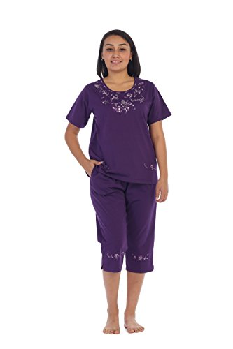 unik Women's Short Sleeve Embroidered Butterflies Blouse and Matching Capri Set, Purple Size Large