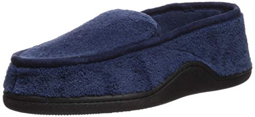 (Isotoner Men's Microterry Slip On Slippers, Navy, X-Large / 11-12 US)