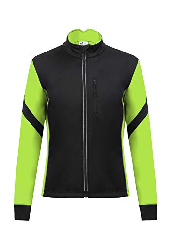 Men's Thermal Cycling Jersey Long Sleeve Snow Water Reflective Windproof Firewall Winter Biking Jacket (2XL, Fluorscent Yellow)