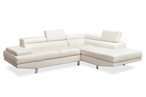 HOMES: Inside + Out IDF-6833WH-SEC Sarita Leatherette Sectional