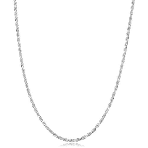 Kooljewelry 925 Sterling Silver Diamond-cut Rope Chain Necklace (1.7 mm, 14 inch)