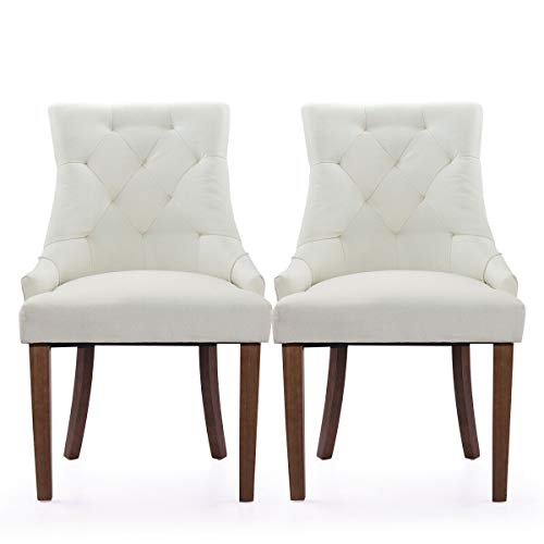 Cypress Shop Upholstered Chairs Button Fabric Tufted High Back Roll Top Accent Dining Chair Classic Style Side Chairs Nailhead Living Room Tray Color Home Furniture Set of 2 Beige Color (Velvet Chair Tub Crushed)