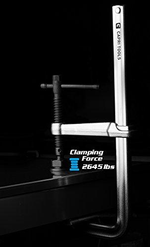 Capri Tools 20-Inch Heavy Duty All Steel Bar Clamp, 5-1/2-Inch Throat Depth, 2,645 lb Clamping Force by Capri Tools (Image #5)