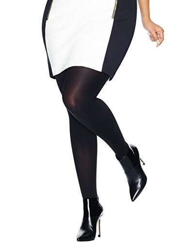 Just My Size by Hanes Womens Blackout Tight, 88906, 1X/2X, Black - Microfiber Plus Size Tights