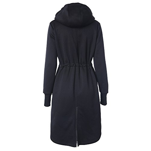 Hooded Size Drawstring Outerwear Full Long Autumn MIRRAY Slim Jacket Long Sleeve Long Outwear Pockets Coats Large Winter Ladies Zipper with Black Fit Loose Warm Hoodies Belted Womens qPzRAwf